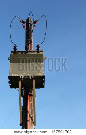 Wooden Pole Mounted Electricity Substation Transformer and Overhead Power Lines UK