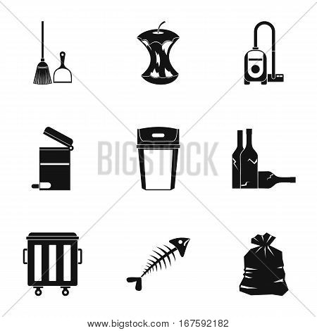 Rubbish icons set. Simple illustration of 9 rubbish vector icons for web