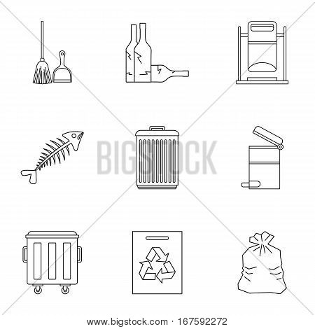 Rubbish icons set. Outline illustration of 9 rubbish vector icons for web