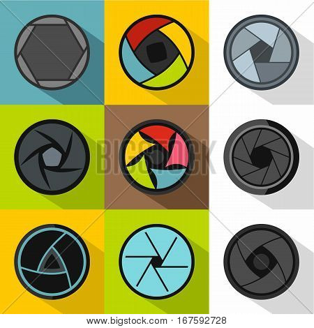 Kind of aperture icons set. Flat illustration of 9 kind of aperture vector icons for web
