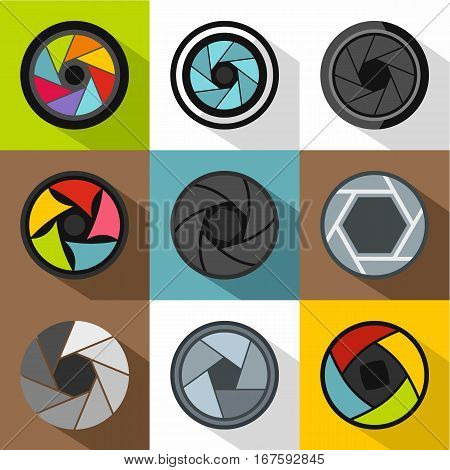 Aperture of camera icons set. Flat illustration of 9 aperture of camera vector icons for web