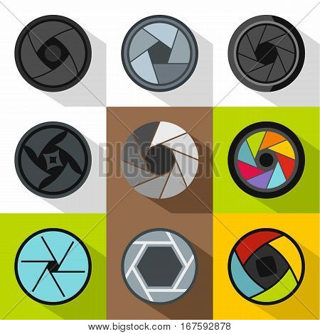 Aperture of photocamera icons set. Flat illustration of 9 aperture of photocamera vector icons for web