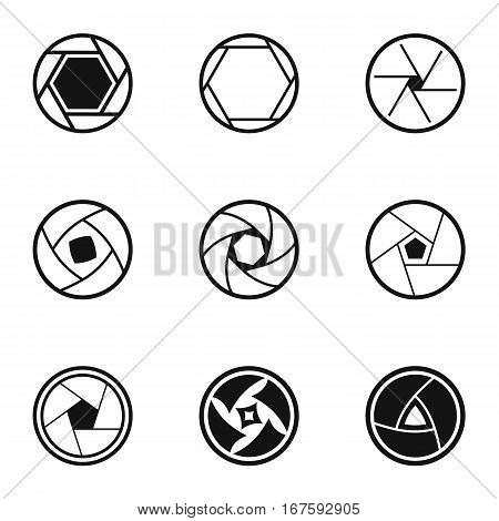 Types of aperture icons set. Simple illustration of 9 types of aperture vector icons for web