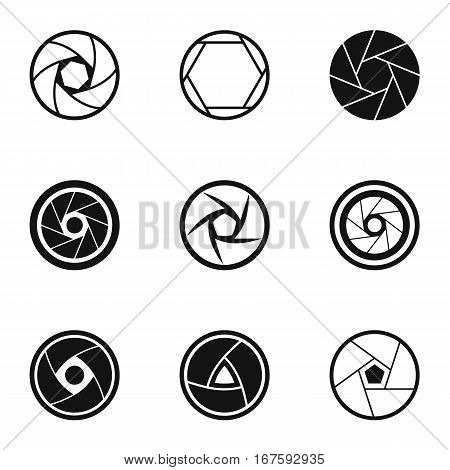 Aperture icons set. Simple illustration of 9 aperture vector icons for web