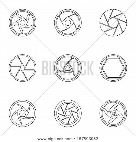 Aperture icons set. Outline illustration of 9 aperture vector icons for web