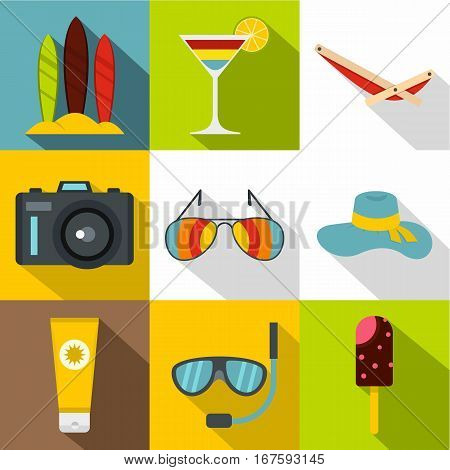 Travel to sea icons set. Flat illustration of 9 travel to sea vector icons for web