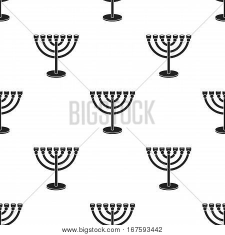 Menorah icon in black style isolated on white background. Religion pattern vector illustration. - stock vector