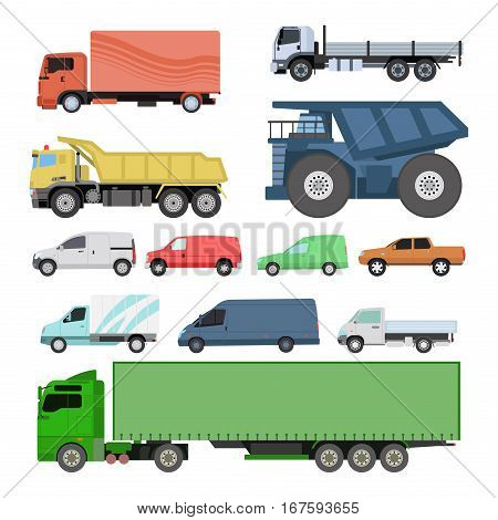 Different trucks icons set vector shipping cars vehicles cargo transportation by road. Delivery vehicle rail with forklifts. Flat style icons trailer lorry traffic illustration.