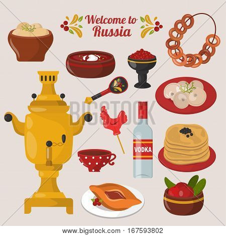 Russian national food travel cuisine symbols. Homemade shrovetide meal pancake with caviar and tea. Kitchen vector gourmet meal tradition healthy decoration.