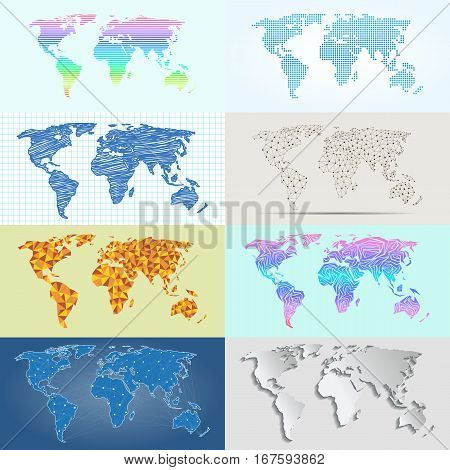 Earth map schemes isolated on white. Vector globe silhouette collection. International art worldwide global ocean cartography. Abstract land continent graphic.