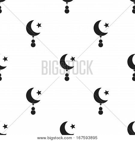 Crescent and Star icon in black style isolated on white background. Religion pattern vector illustration. - stock vector