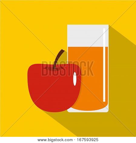 Glass of juice with red apple icon. Flat illustration of glass of juice with red apple vector icon for web on yellow background