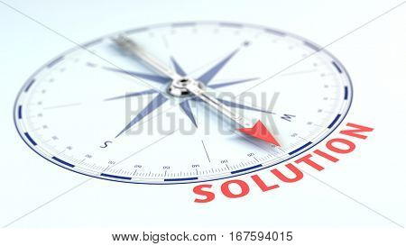 Business solution concept - Compass needle pointing solution word. 3d rendering