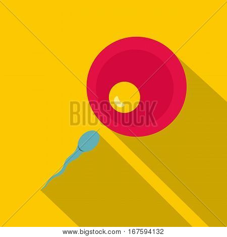 Petri dish with fertilized eggs icon. Flat illustration of petri dish with fertilized eggs vector icon for web on yellow background