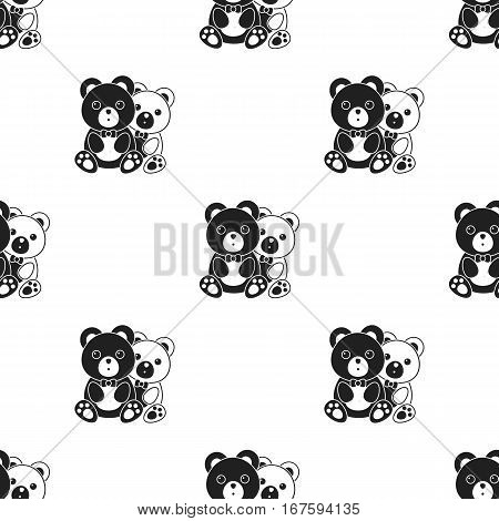 bears icon in black style isolated on white background. Romantic pattern vector illustration. - stock vector