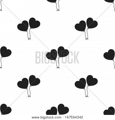 Baloons icon in black style isolated on white background. Romantic pattern vector illustration. - stock vector