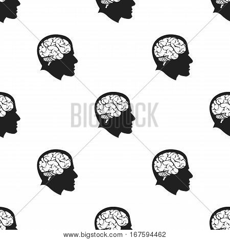 Brain icon black. Single education icon from the big school, university black. - stock vector