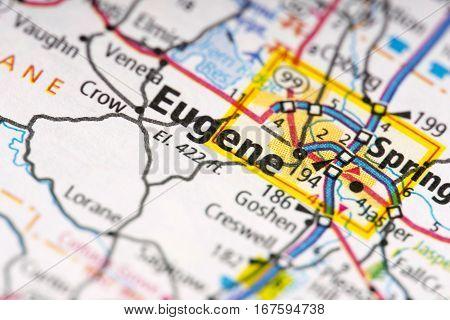 Eugene, Oregon On Map