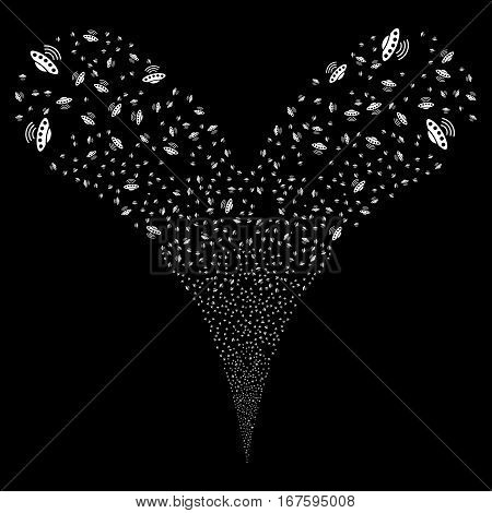 Alien Invasion fireworks stream. Vector illustration style is flat white iconic symbols on a black background. Object double fountain made from random icons.