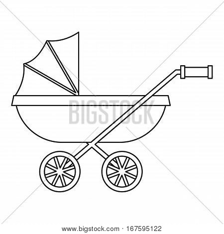 Baby stroller icon. Outline illustration of baby stroller vector icon for web