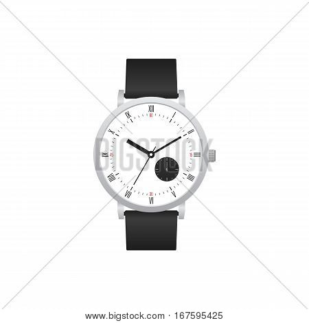 Classic watch with black leather strap isolated on white background vector illustration