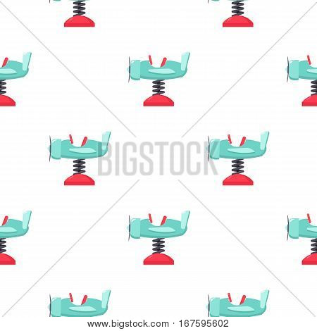 Spring plane icon in cartoon style isolated on white background. Play garden pattern vector illustration. - stock vector