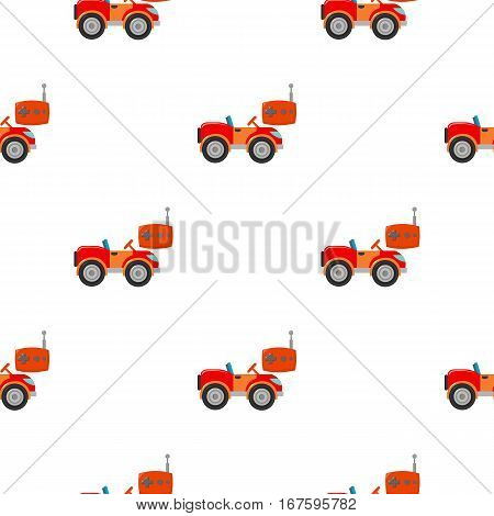 RC car icon in cartoon style isolated on white background. Play garden pattern vector illustration. - stock vector