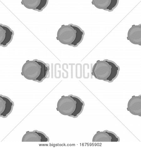 Manhole icon in cartoon style isolated on white background. Plumbing pattern vector illustration. - stock vector