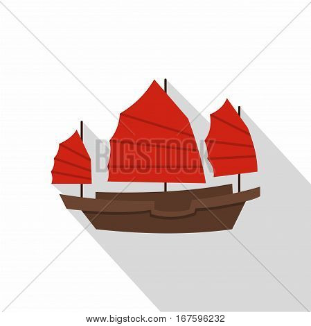 Chinese boat with red sails icon. Flat illustration of chinese boat with red sails vector icon for web on white background
