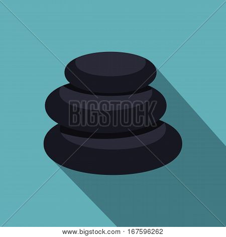 Stack of black basalt balancing stones icon. Flat illustration of stack of black basalt balancing stones vector icon for web on baby blue background