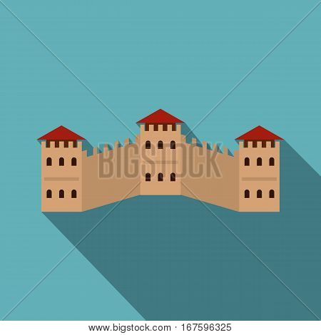 Majestic Great Wall of China icon. Flat illustration of majestic Great Wall of China vector icon for web on baby blue background