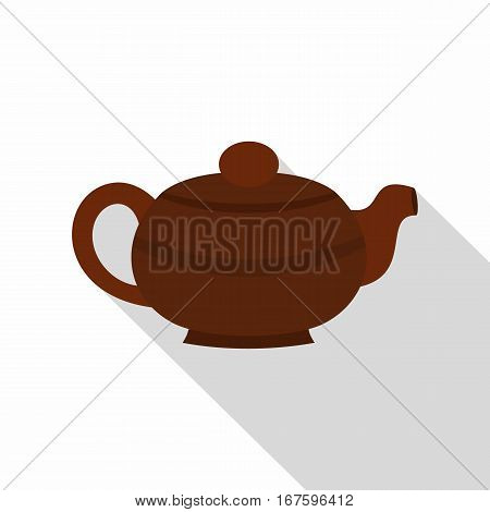 Brown chinese teapot icon. Flat illustration of brown chinese teapot vector icon for web on white background