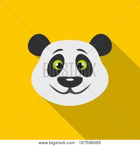 Head of panda bear icon. Flat illustration of head of panda bear vector icon for web on yellow background