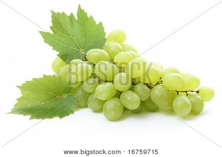 bunch of fresh grapes and leaves isolated on white