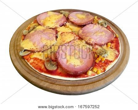Pizza with mushrooms ham tomato cheese on a round board. Isolated on white background