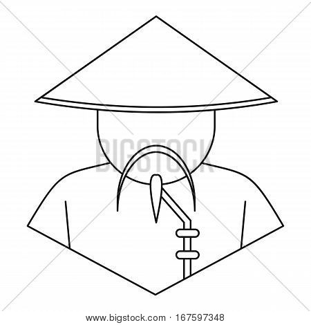 Chinese man icon. Outline illustration of chinese man vector icon for web