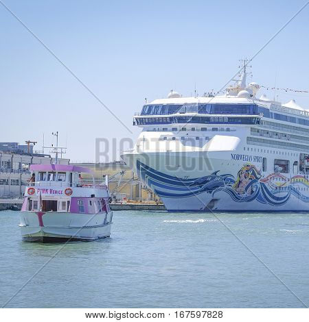 Venice, Italy, June, 21, 2016: cruise ship in Venice quay, Italy