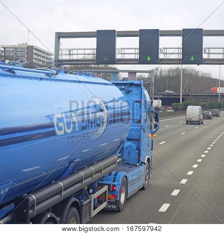 Belgium, central Europe, February, 5, 2016: traffic on a highway in Belgium, Europe