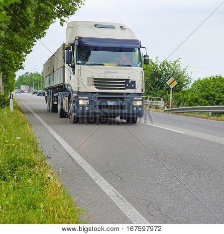Rovigo, Italy - June, 28, 2016: truck on a highway in Rovigo, Italy
