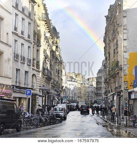 Paris, France, February 8, 2016: rainbow over Paris, France
