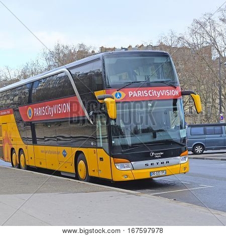 Paris, France, February 8, 2016: Bus on the street of Paris, France