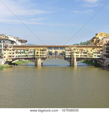 Florence, Italy, June, 25, 2016:  bridge from Amo river in Florence, Italy