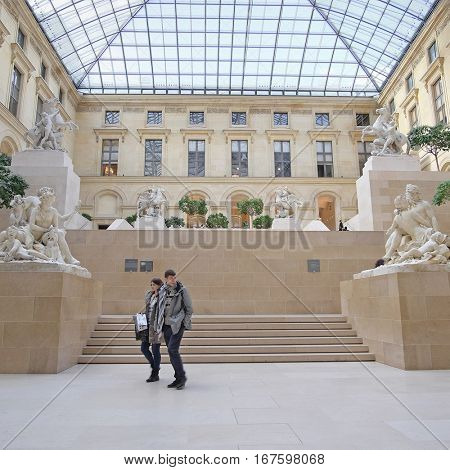Paris, France -February 10, 2016: one of the halls in Louvre - the famoust art musinm in Paris, France