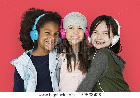 Little Girls Headphones Happy Smiling