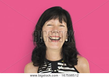 Mature Asian Woman Cheerful Concept