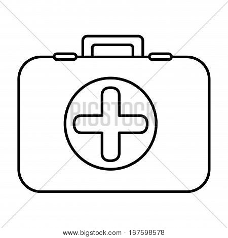 monochrome contour with first aid kit with symbol cross in circle vector illustration
