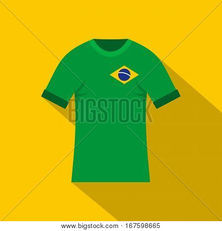 Brazilian yellow and green soccer shirt icon. Flat illustration of brazilian yellow and green soccer shirt vector icon for web on yellow background