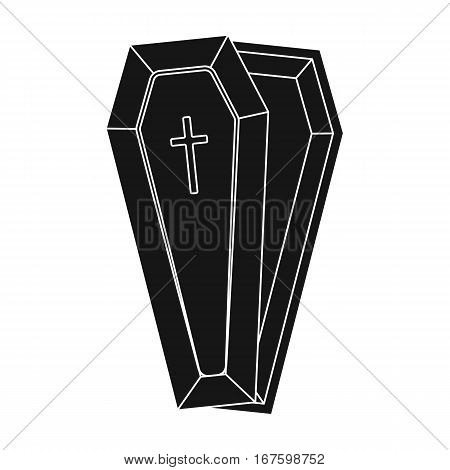 Coffin icon in black design isolated on white background. Funeral ceremony symbol stock vector illustration. - stock vector