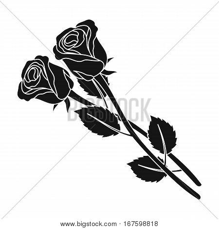 Two roses icon in black design isolated on white background. Funeral ceremony symbol stock vector illustration. - stock vector