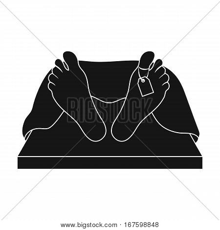 Deceased with tag icon in black design isolated on white background. Funeral ceremony symbol stock vector illustration. - stock vector